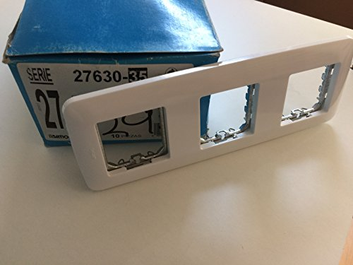 SIMON 27630-35 Placa para caja universa´sin garras y con bastidor blanco nieve