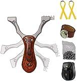 Toparchery Steinschleuder Set:Pocket Shot Slingshot Schleuder Zwille Katapult Sportschleuder Jagd Schleuder-Profi aus Edelstahl Spielzeug Erwachsene -