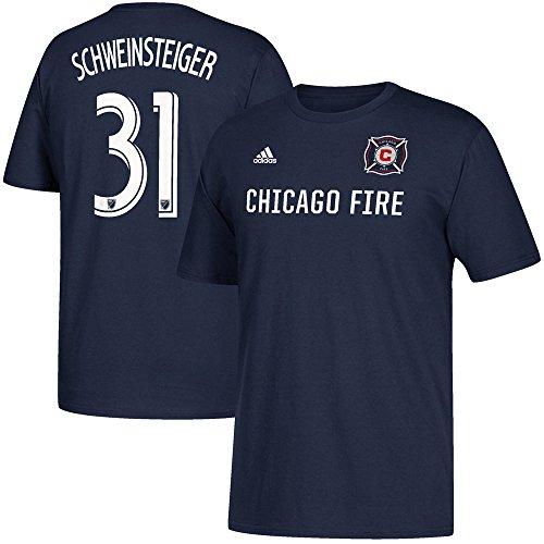 adidas Bastian Schweinsteiger Chicago Fire Herren Navy Spieler Name und Nummer T-Shirt, Herren, navy, Small