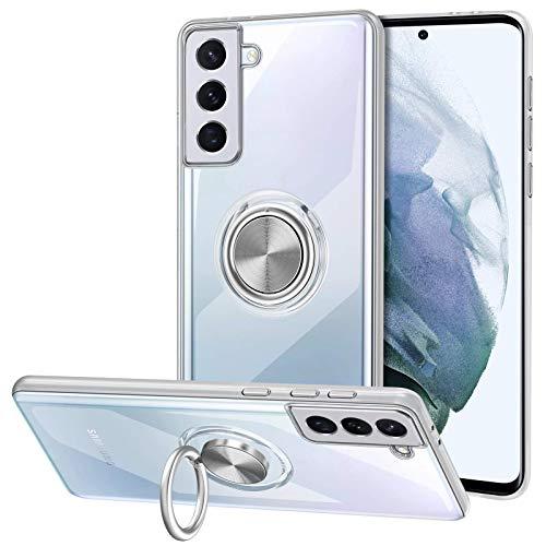 Vunake Galaxy S21 6.2 Hülle,Silikon TPU Hülle Cover mit 360 Grad Ring Stand dünn Handyhülle kompatibel Magnetische Autohalterung Slim Schutzhülle Fingergriff Tasche für Samsung Galaxy S21 6.2,Clear