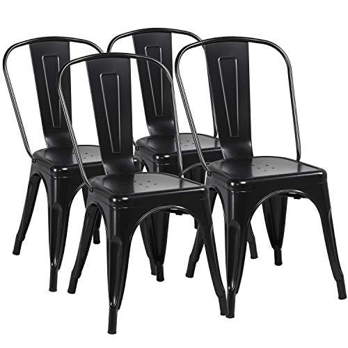 Yaheetech Lot de 4 Chaise de Salle à Manger Industrielle Chaise de Cuisine 45 cm H Empilable Tabouret avec Dossier Jardin Balcon Bistrot Café Salon Exterieur Interieur Noir