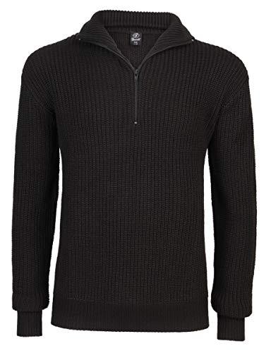 Brandit Marine Pullover Troyer, Nero, XXXL Uomo