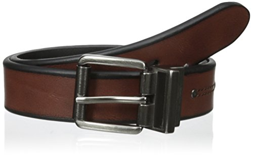 Levi's Boys' 30mm Reversible Beveled Edge Belt with Rivet, Brown/Black, Medium/26-28 Inches