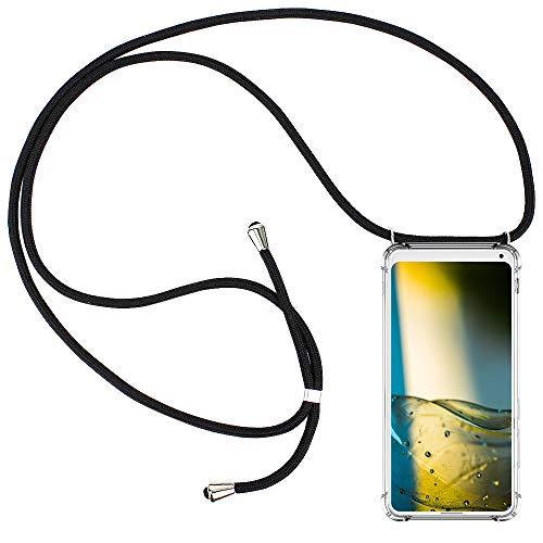 CLM-Tech Carcasa con Cuerda para Colgar Compatible con Xiaomi Mi Mix 2S - Funda Silicona Transparente con Cordon para Llevar en el Cuello, Negro