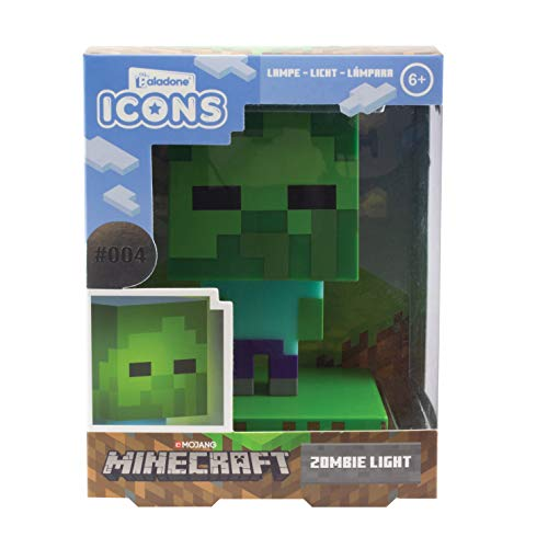 Paladone Minecraft Zombie Icon Lumière BDP | Mini veilleuse | Fun Pixelated Super Lumineux, Multicolore, PP6592MCF