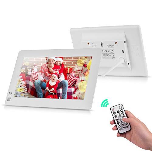 Andoer - Marco de fotos digital ultrafino de 7 pulgadas (1280 x 800 con tarjeta de memoria de 8 GB, control remoto compatible con...
