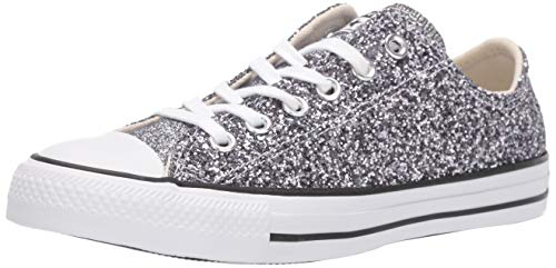 Converse Women's Chuck Taylor All Star Chunky Glitter Low Top Sneaker, Silver/Black/White, 8.5 M US