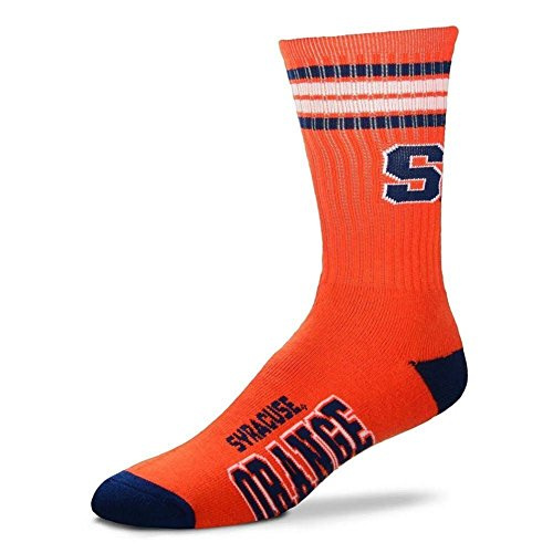 For Bare Feet NCAA 4 Stripe Deuce Crew Men Socks (Syracuse Orange, Medium (5-10))