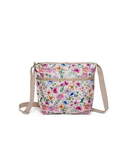 LeSportsac Sunshine Garden Small Cleo Crossbody Handbag, Style 7562/Color F654, Elegant Multi-Color Vibrant Watercolor Floral, Neutral Cream Trim/Metallic Gold Logo