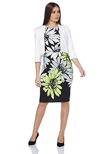 Roman Originals Women Tailored Rochette Bolero Suit Jacket - Ladies Shrug Work Formal Wedding Mother of The Bride Crepe Crop Stretch Cover Up 3/4 Sleeve Blazer - Ivory White - Size 16