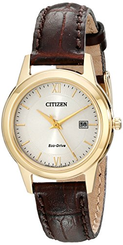 Citizen Eco-Drive Corso Quartz Womens Watch, Stainless Steel with Leather strap, Classic, Brown (Model: FE1082-05A)