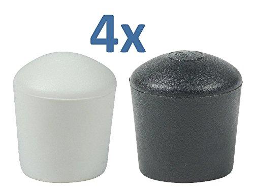 Lifeswonderful - 4 Stück Gewölbte Schutzkappen für Möbel - viele verschiedene Farben und Größen - Schwarz 25 mm