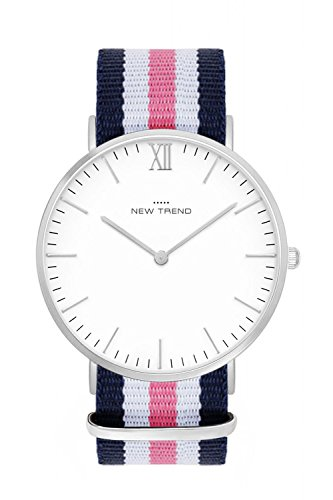 New Trend - Love for Accessories Damen Uhr analog Quarzwerk mit Nylon-Armband 85-O3A1-TW75