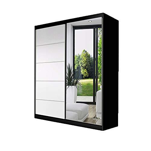 Idzczak Meble Schwebetürenschrank Vista 05 mit Spiegel Kleiderschrank Schlafzimmer- Wohnzimmerschrank Schiebetürenschrank Modern Design (Schwarz/Weiß + Spiegel)