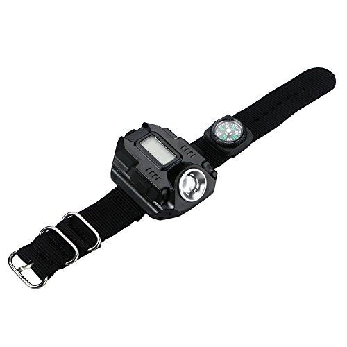4 Modos LED Reloj de Pulsera Linterna LED Pantalla LED Recargable USB...