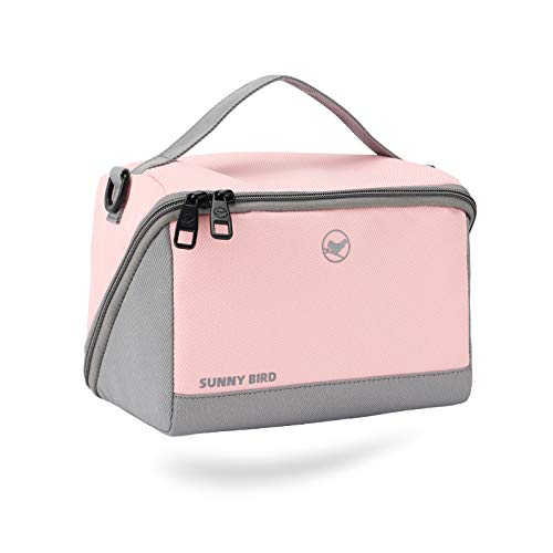 Sunny Bird Thermal Insulated Lunch Bag for Work Reusable Lunch Box Leakproof Adult Cooler Tote with Adjustable Shoulder Strap for Women and Men Light pink and grey