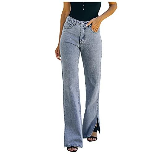 Corlidea Jean pour femme - Taille haute - Coupe droite - Taille haute - Bleu - W40