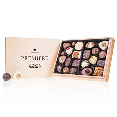 Premiere Midi - 20 handgefertigte Pralinen | Geschenke für erwachsene | Schokolade in edler Holz-Box | Geschenk | Frauen | Männer | Muttertag | Vatertag | Hochzeit | Mann | Frau | Geschenkidee