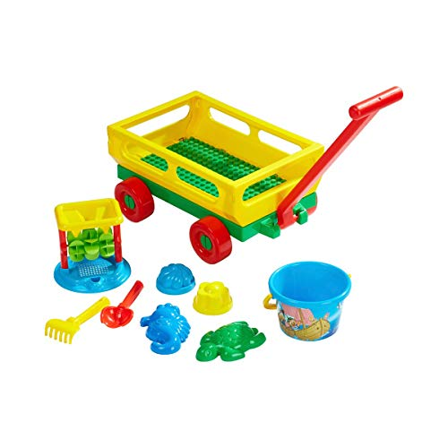 solini Sandspielzeug-Set Handwagen (10-tlg.) - Kinderspielzeug inkl. Schaufel, Rechen, 4 Förmchen, Sieb, Eimer & Wasserrad für Spaß am Strand - bunt