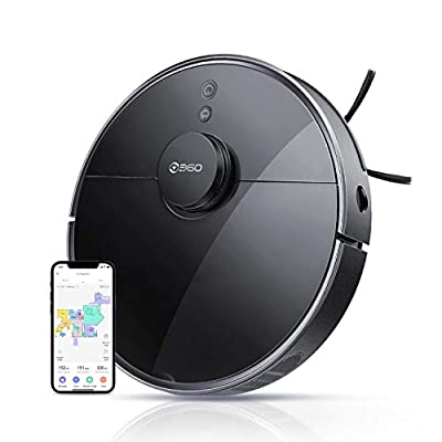 360 S7 Pro Robot Vacuum and Mop with Mapping Technology, 2200 Pa, Multi-Floor Mapping, Selective Room Cleaning, No-Go Lines, No-Mop Zones, Hardwood, Tile, Low-Medium Pile Carpet, Works with Alexa
