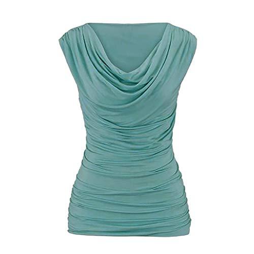BHYDRY Mujeres Casual Cuello Redondo sin Mangas Delgado Adelgazamiento Camiseta Tops Blusa