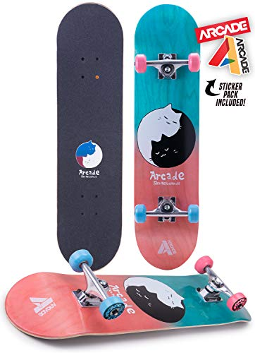 Arcade Pro Skateboard 31' Standard Complete Skateboards Professional Complete Board w/Concave - Skate Boards Great for Beginners, Adults, Teens, Youth & Kids (7.75' Kitty Karma)