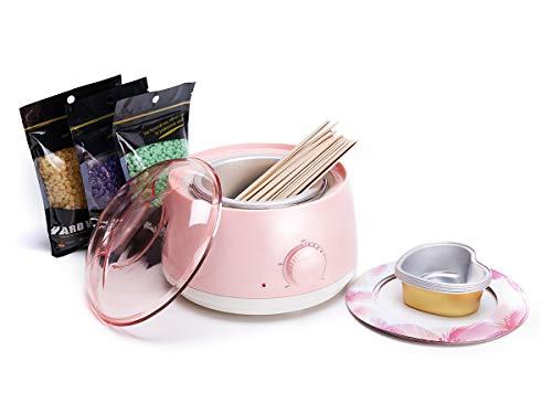 Waxwärmer Wachserhitzer Haarentfernung Wachsgerate Waxing Heater Wachs Enthaarung Set mit 400g Warmwachs 20*Holzstäbchen 5* Schälchen 10* Schmutzabweisende (rosa)
