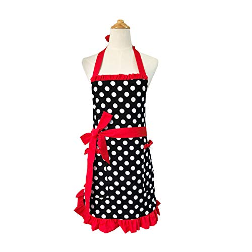 Cotton Fabric Women's Apron with 2 Pockets-Extra Long Ties, Home Baking or Kitchen Cooking, Graceful and Flirty, Black Style-1-Leeotia