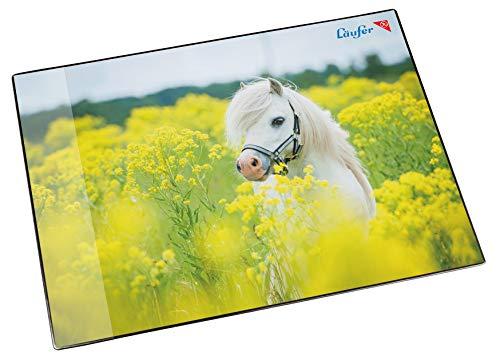 Läufer 46651 Schreibtischunterlage Pferd im Rapsfeld, 53x40 cm, rutschfeste Schreibunterlage für Kinder, verschiedene Motive, mit transparenter Seitentasche