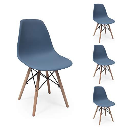 Juego de 4 sillas de Comedor MAX Tower inspiración Silla Tower - Azul Horizonte