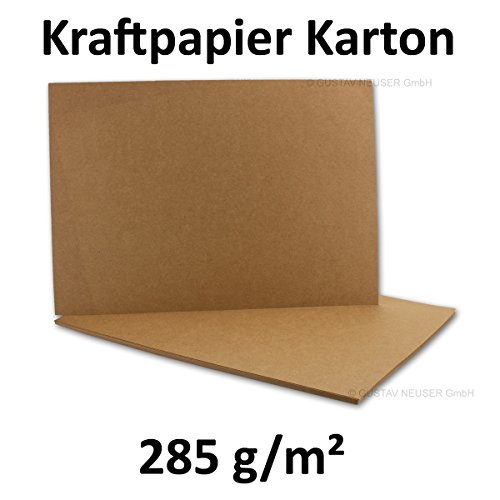 Tarjetas de papel Kraft reciclado (285g/m², DIN A4,210x 297 cm), color marrón , color 285 g/m² 25 Stück