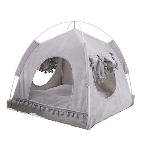 ZHUZI Foldable Dog Tent, Indoor Pet House with Cushion, Puppy Kennel, Cat House, Great for for Small Medium Dog and Kitten(Grey S)