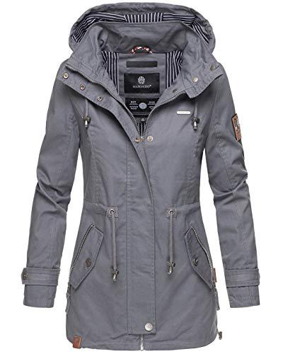 Marikoo chaqueta chaqueta de primavera chaqueta de transición ligera Parka con capucha B690 [B690-Nyok-Dunkelgrau-Gr.L]