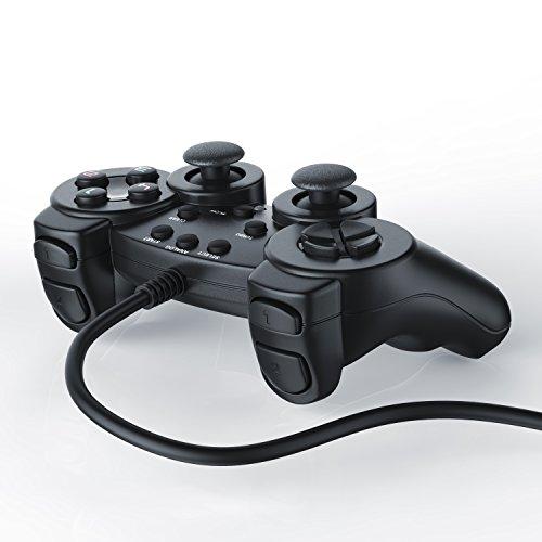 CSL - Gamepad Controlador de Mando para Playstation 2 PS2 con Doble vibración - Negro