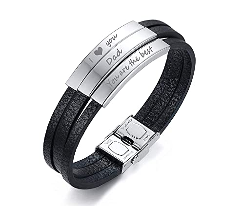 AMOZ Pulsera de cuero personalizada para hombres de acero inoxidable con identificación de nombre negro pulsera de cuero negro con 3 grabados pulsera gratis, 21,5 cm, plata - papá