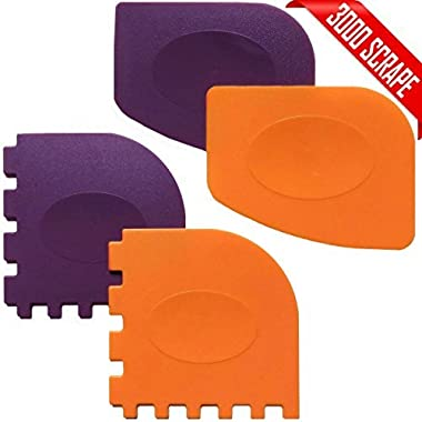 Pan Scrapers, Set of 4 Durable Pan Scrapers Grill Pan Scraper Cleaner Tools for all Pans Skillets, Cookware Baking Grill Pans (Orange, Purple)