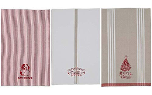 DII Vintage Collection Dishtowel, Set of 3, Merry Christmas, 3 Piece
