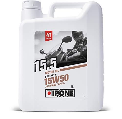 IPONE – Huile Moto 4 Temps 15W50 15.5 - Bidon 4 Litres - Lubrifiant Semi-Synthétique – Usage Régulier - Protection du moteur – Lubrification Optimale