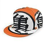 Unisex Snapback Hats,Japanese Kanji Turtle Kame Adjustable Printed Hip Hop Flat Bill Baseball Cap Black