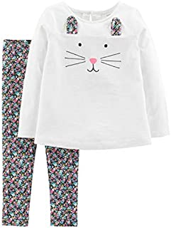 Carter's Baby Girls' 2-Piece Top and Legging Set (Ivory Bunny/Floral, 9 Months)