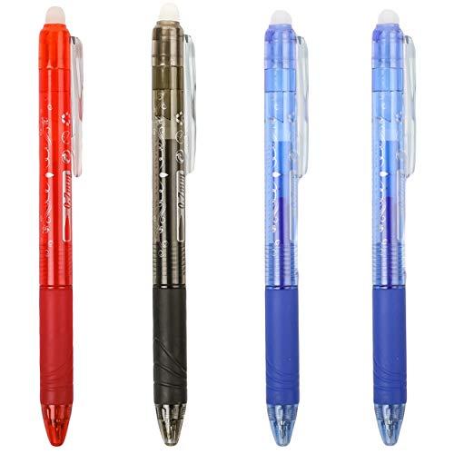 4 Bolígrafos Borrables con Punta de Gel Diseño Retráctil Tipo Empuje- 2 Azules, 1 Rojo y 1 Negro