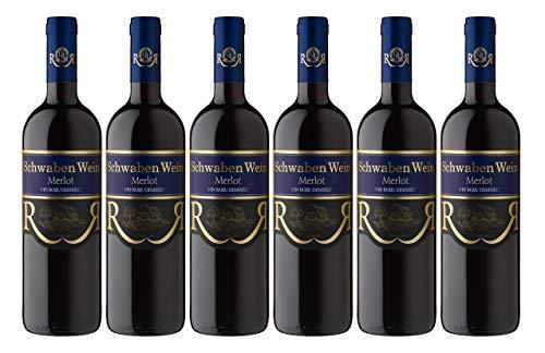 Cramele Recas | SCHWABEN WEIN Merlot – Rotwein halbtrocken aus Rumänien | Weinpaket 6 x 0,75 L + 1 Kugelschreiber