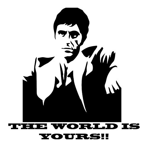 Scarface The World is Yours Wall Decal is a Vinyl Wall Decal Displaying a Picture of Al Pacino in his Role as Scarface. - Black