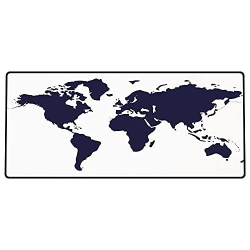 Alfombrilla de ratón para Juegos 600 x 300x3 mm,Mapa, Color índigo Mapa gráfico del Mundo Pantalla vívida Tema Internacional Internacional Decora Base de Goma Antideslizante, Adecuada para Jugadores
