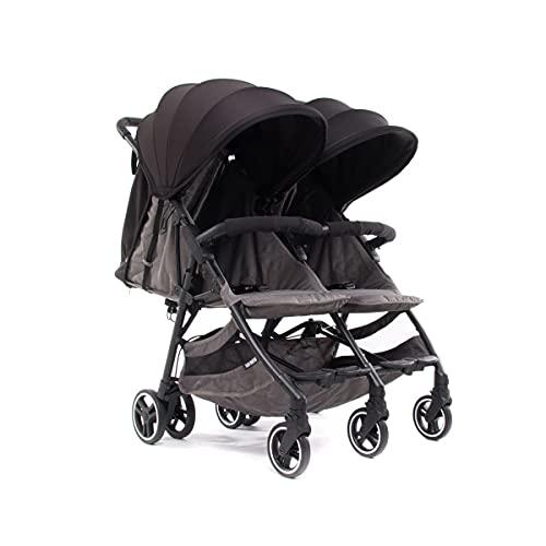 Baby Monsters Silla de paseo gemelar + capotas Kuki Twin (Negro) - La silla gemelar más ligera y compacta del mercado