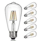 CMYK Vintage LED Edison Bulb, 4W, Edison Light Bulb 40W Equivalent, Dimmable LED Filament Bulb ST64, E26 Medium Base, Warm White 2200K, E26 Edison Bulb for Decorate Home, Clear Glass, Pack of 6