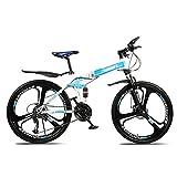 Bicicleta De Montaña Plegable, 21/24/27 Pulgadas Off-Road Mountain Shock Absorber Bike, Rueda De Tres Cuchillas Mountain Road Bicicleta Plegable