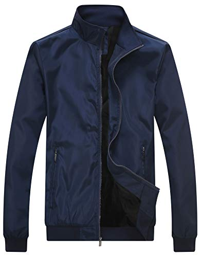 Wantdo Men's Lightweight Bomber Jacket Fall Windbreaker Casual Sport Zip Outerwear Blue X-Large