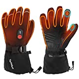 Heated Gloves for Men Women, Taileluo Upgrade 7.4V 2200MAH Electric Rechargeable Battery Heated Gloves, Winter Ski Snowboard Hunting Motorcycle Work Warm Gloves (Black-Updated, M)