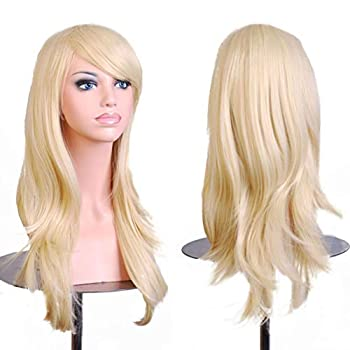 BERON Wigs Light Blonde Wigs 28  Long Wavy Full Cosplay Costume WIgs Wig Cap Included